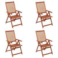 vidaXL Cadeiras de jardim dobráveis 4 pcs madeira de acácia maciça