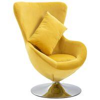 vidaXL Cadeira giratória em forma de ovo c/ almofadão veludo amarelo