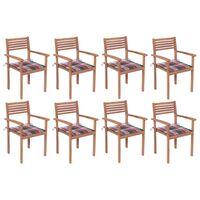 vidaXL Cadeiras de jardim empilháveis c/ almofadões 8 pcs teca maciça