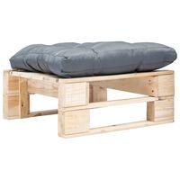 vidaXL Otomano de paletes com almofadão cinzento madeira natural
