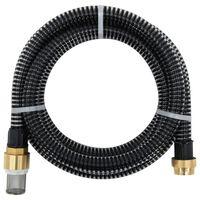 vidaXL Mangueira de sucção com conectores de latão 5 m 25 mm preto