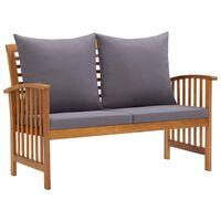vidaXL Banco de jardim c/ almofadões 119 cm madeira de acácia maciça