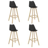 vidaXL Bar Stools 4 pcs Black PP and Solid Beech Wood (2x287259)