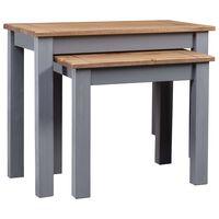 vidaXL Mesas de encastrar 2 pcs madeira pinho maciça Panama cinzento