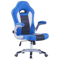 vidaXL Cadeira de gaming couro artificial azul