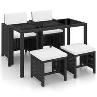 vidaXL 13 pcs conjunto jantar exterior com almofadões vime PE preto