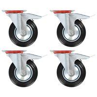 vidaXL Rodas giratórias com travões duplos 4 pcs 160 mm