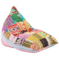 vidaXL Sofá/pufe retalhos de tecido multicolor