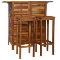 vidaXL Conjunto mesa e cadeiras de bar 3 pcs madeira de acácia maciça