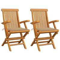 vidaXL Cadeiras de jardim c/ almofadões beges 2 pcs teca maciça