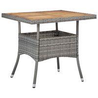 vidaXL Mesa de jantar para exterior vime PE e acácia maciça cinzento