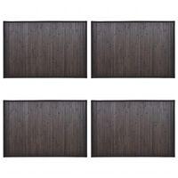 vidaXL Tapetes de casa de banho 4 pcs 40x50 cm bambu castanho-escuro