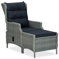 vidaXL Cadeira jardim reclinável c/ apoio pés vime PE cinzento-claro