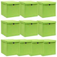 vidaXL Caixas de arrumação com tampas 10 pcs 32x32x32 cm tecido verde