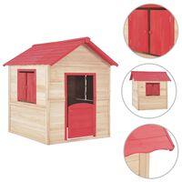 vidaXL Casa de brincar para crianças madeira de abeto vermelho