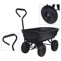 vidaXL Carrinho de mão basculante para jardim 300 kg 75 L preto
