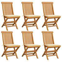 vidaXL Cadeiras de jardim c/ almofadões creme 6 pcs teca maciça