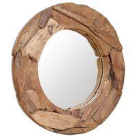 vidaXL Espelho decorativo em teca 80 cm redondo