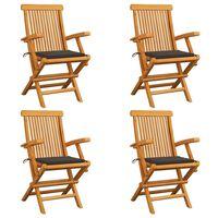 vidaXL Cadeiras de jardim c/ almofadões cinza-acast. 4 pcs teca maciça