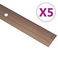 vidaXL Perfis de piso 5 pcs 100 cm alumínio castanho