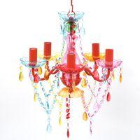 Lustre multicolor com 5 bulbos
