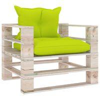 vidaXL Sofá de paletes p/ jardim com almofadões verde brilhante pinho