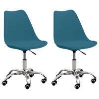 vidaXL Cadeiras de escritório 2 pcs couro artificial turquesa