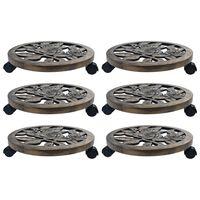 vidaXL Suportes com rodas para plantas 6 pcs 38 cm plástico bronze