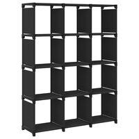 vidaXL Unidade de prateleiras 12 cubos 103x30x141 cm tecido preto