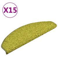 vidaXL Tapete/carpete para degraus 15 pcs 65x21x4 cm verde