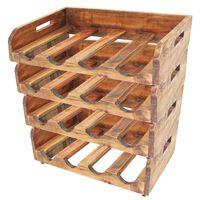 vidaXL Garrafeiras para 16 garrafas 4 pcs madeira recuperada maciça