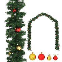 vidaXL Grinalda de Natal decorada com enfeites 10 m