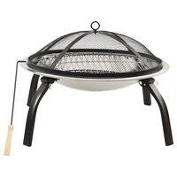 vidaXL Braseira e barbecue 2-em-1 com atiçador 56x56x49 cm aço inox.