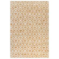 vidaXL Tapete de juta tecido à mão 120x180 cm natural e branco