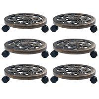 vidaXL Suportes com rodas para plantas 6 pcs 30 cm plástico bronze