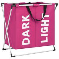 vidaXL Separador de roupa suja de 2 secções rosa