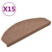 vidaXL Tapete/carpete para degraus 15 pcs 65x24x4 cm castanho