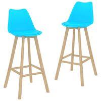 vidaXL Bar Stools 2 pcs Blue PP and Solid Beech Wood