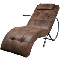 vidaXL Chaise Lounge com almofada tecido castanho com aspeto camurça