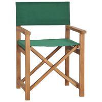 vidaXL Cadeira de realizador em madeira de teca maciça verde
