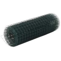 vidaXL Cerca arame galinheiro 10x0,5 m aço c/ revestimento PVC verde