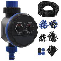 vidaXL Kit rega automática por gotejamento 142pcs c/ temporizador água
