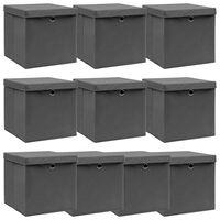 vidaXL Caixas de arrumação com tampas 10 pcs 32x32x32 cm tecido cinza