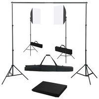 vidaXL Kit de estúdio fotográfico com softbox de iluminação e fundo