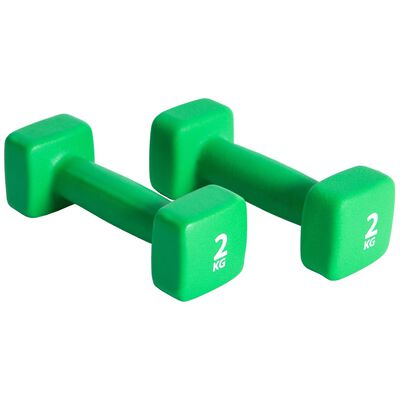 Pure2Improve Conjunto de halteres 2x2 kg neoprene verde,