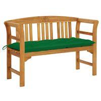 vidaXL Banco de jardim c/ almofadão 120 cm madeira de acácia maciça