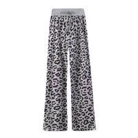Calças macias padrão leopardo cinza / preto (XXXL)
