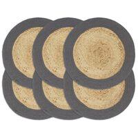 vidaXL Individuais mesa 6 pcs juta e algodão 38 cm natural/antracite