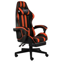 vidaXL Cadeira estilo corrida c/ apoio pés couro artif. preto/laranja