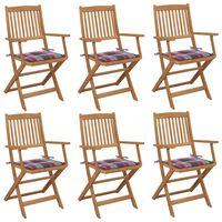 vidaXL Cadeiras de jardim dobráveis c/ almofadões 6 pcs acácia maciça